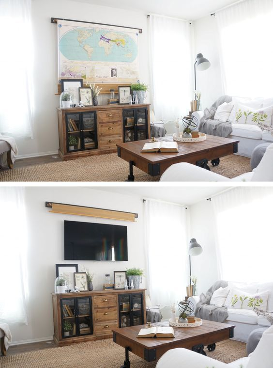 3 Ways To Style Your Tv Hidden Tv Tv Covers Wall