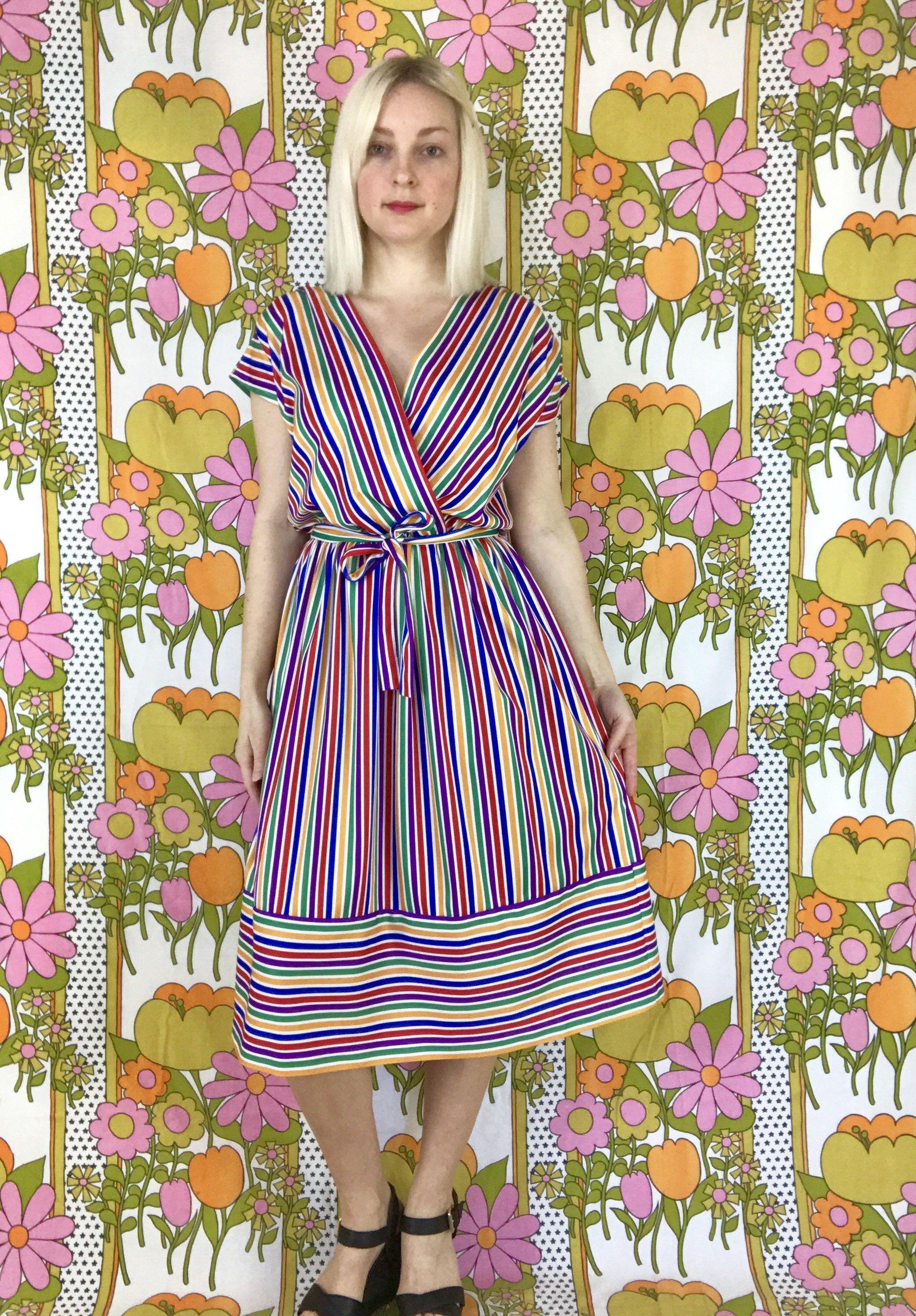 1970s Striped Rainbow Dress Vintage Wrap Dress Mock Wrap Plunging Deep V Neckline Cap Sleeve Belted Midi Dress Retro 70s R 70s Fashion Rainbow Dress Dresses [ 2994 x 2085 Pixel ]