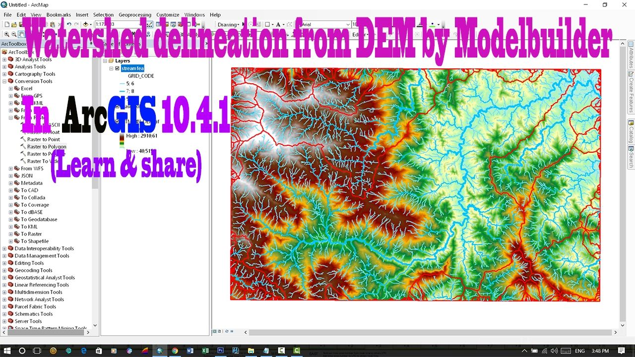 Watershed delineation from DeM by Modelbuilder in ArcGIS