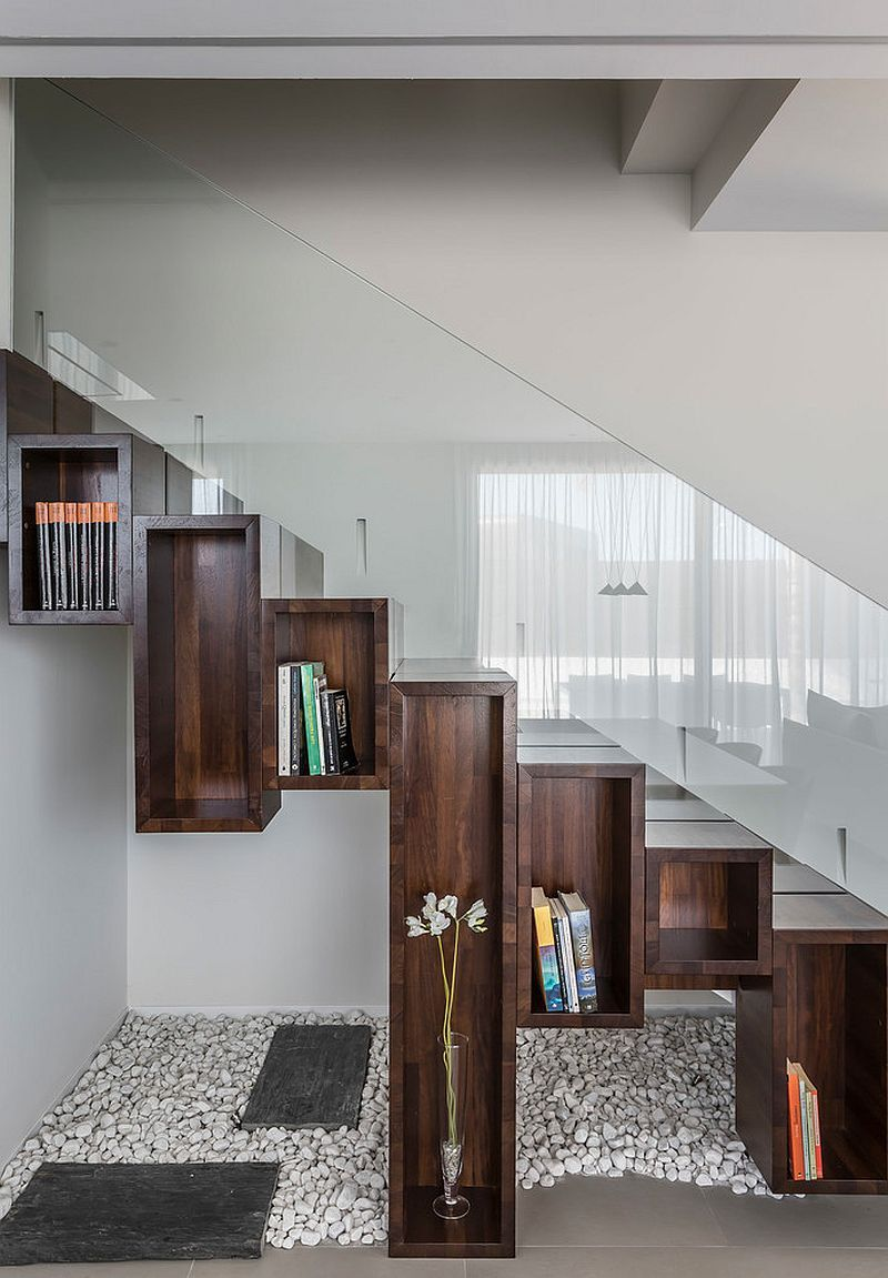 Wooden boxes turn the space under stairway into  cool display modern staircase also door side panels salvabrani tv units in rh pinterest