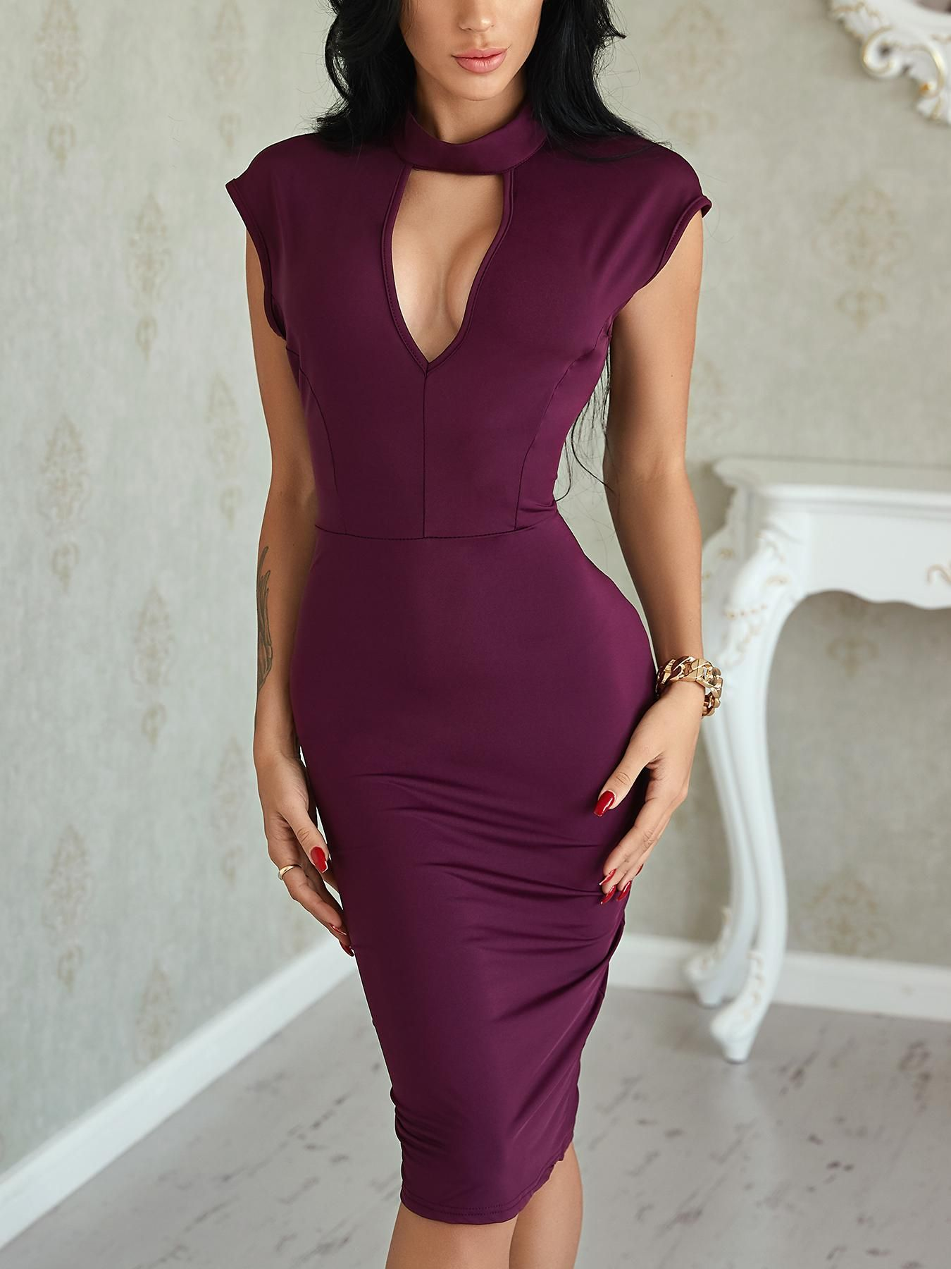 Sexy Mock Cut Out Front Open Back Bodycon Dress  abb82584b