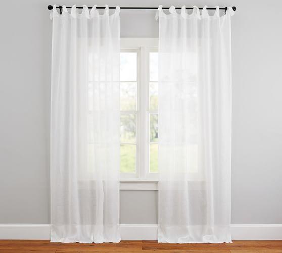 Belgian Flax Linen Sheer Tie Top Curtain White In 2019