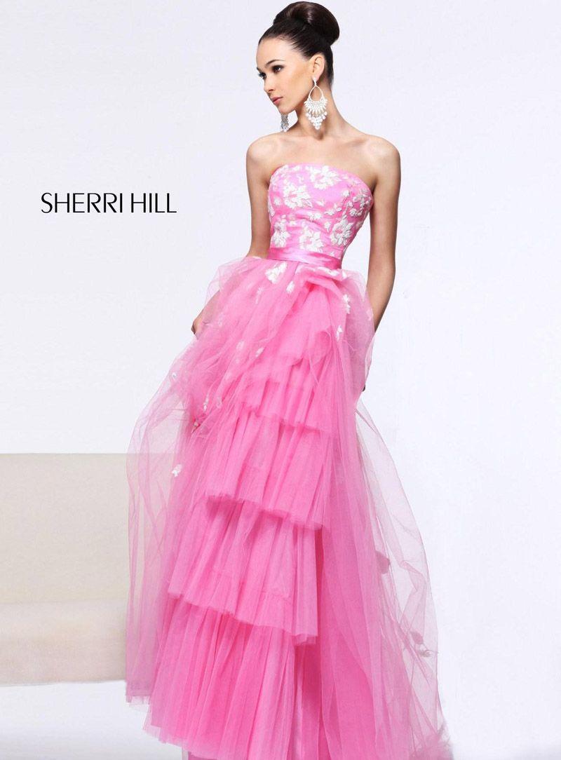 11023 Sherri Hill Neon Pink Prom Dresses | Long Sherri Hill Prom ...