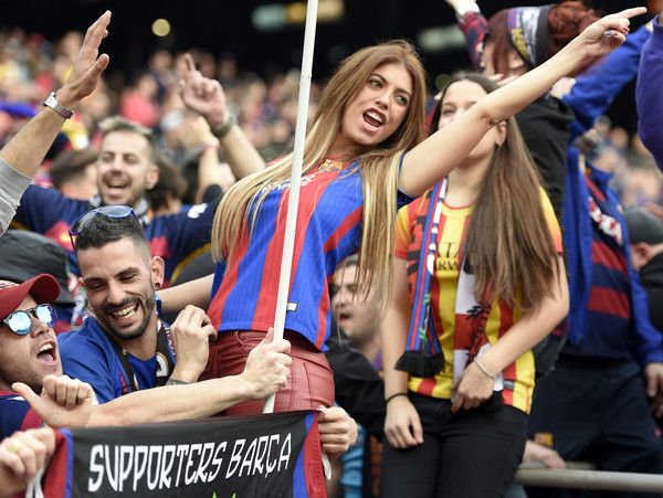 7a65cda1e Barcelona fans cheer their team before the Spanish league football match FC  Barcelona vs Real Madrid