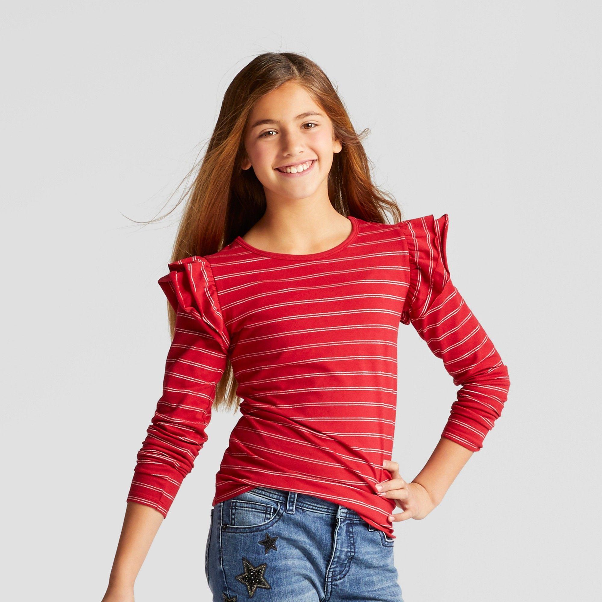 Girlsu shine stripe long sleeve ruffle top cat u jack red m top