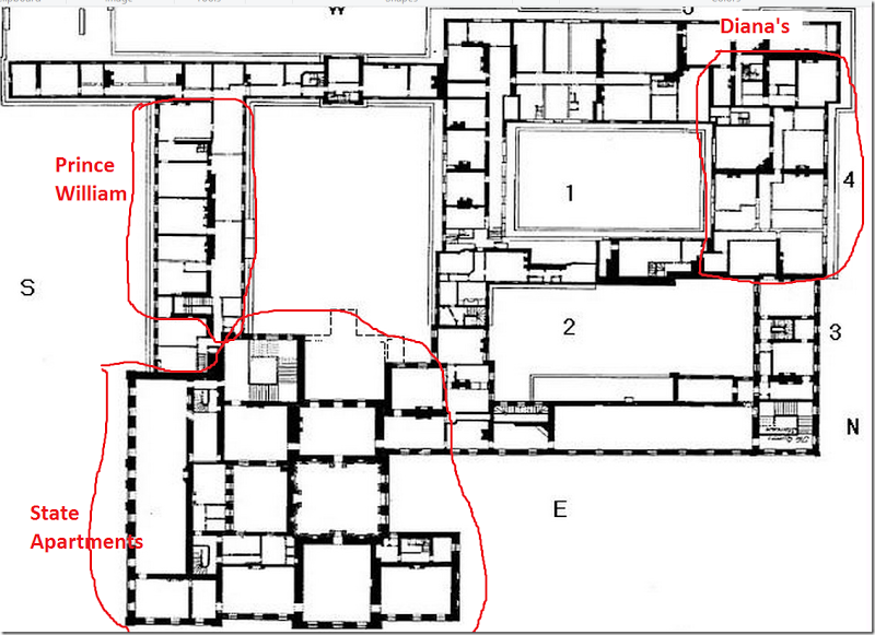 Prince William And Kate S Apartment Floor Plan 800 581 Kensington Palace Apartments Kensington Palace Floor Plans
