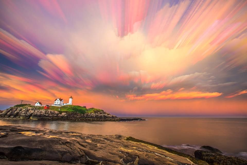 "Jamie Walter //   ""What's better than a rainbow after a thunderstorm? A beautiful sunset, too. // July 23rd, 8:17pm // jamiewalter.com/prints — at Cape Neddick (Nubble) Lighthouse."""