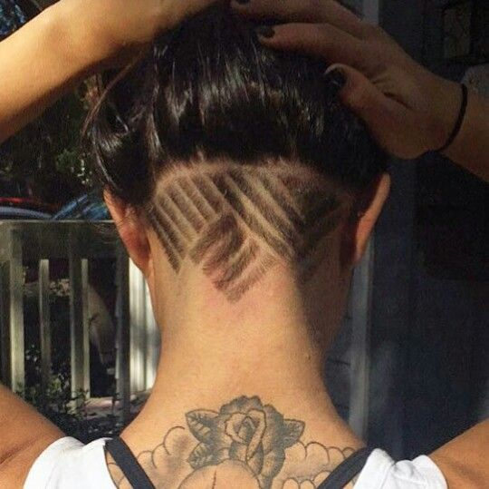 mirrored cool lines girl undercut