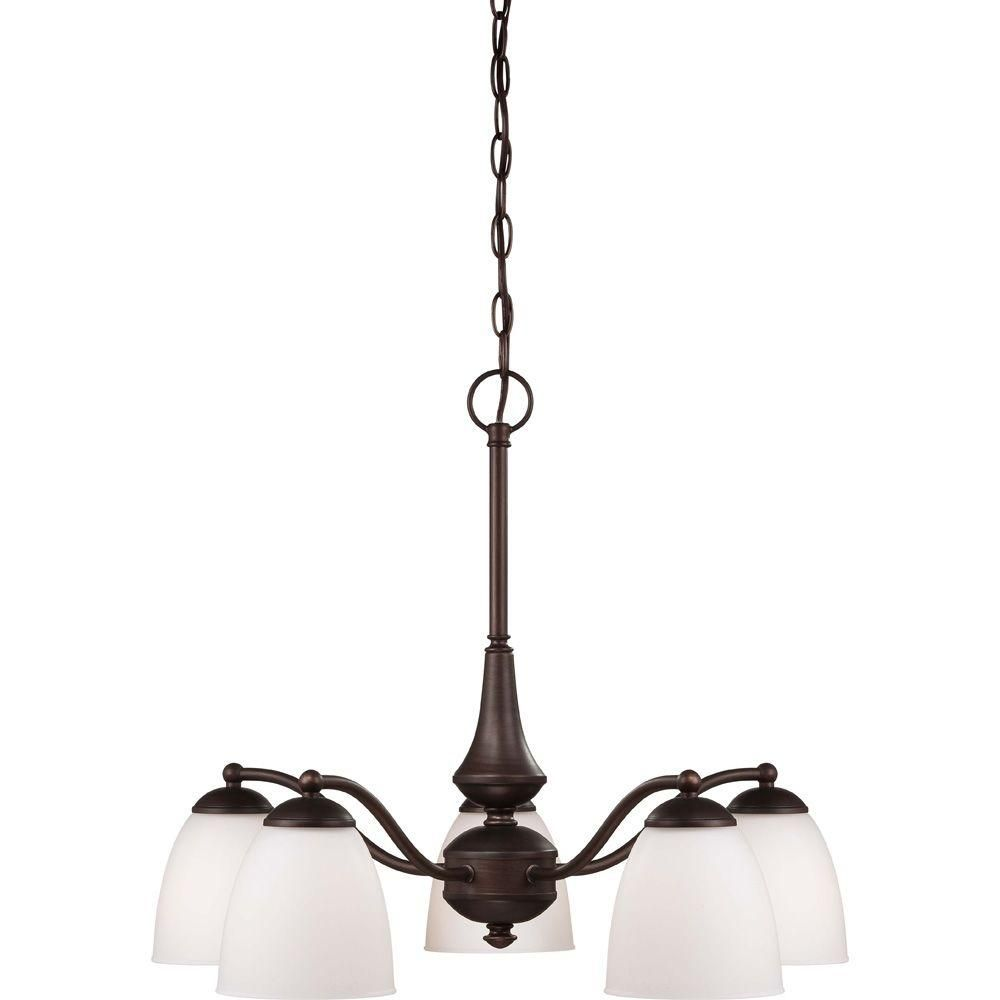 Illumine 5 Light Prairie Bronze Arms Down Chandelier With Frosted Glass Shade