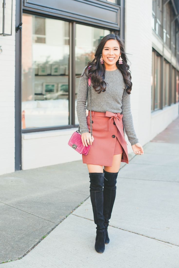 Trench Skirt with over the knee boots and velvet Chanel Boy