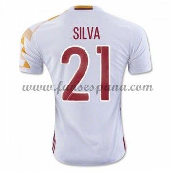 Camisetas De Futbol Barata España 2016 Silva 21 Segunda Equipación 974c7ab735d7e