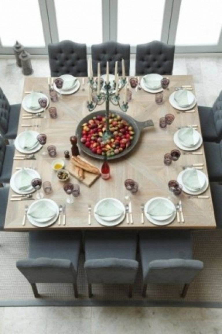 8 Seat Square Dining Table Foter Intended For 12 Seater Square