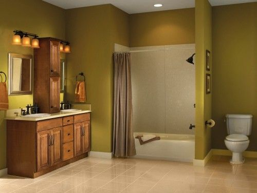 bathroom color with cabinets is beautiful | For Our Home ... on Bathroom Ideas With Maple Cabinets  id=72848
