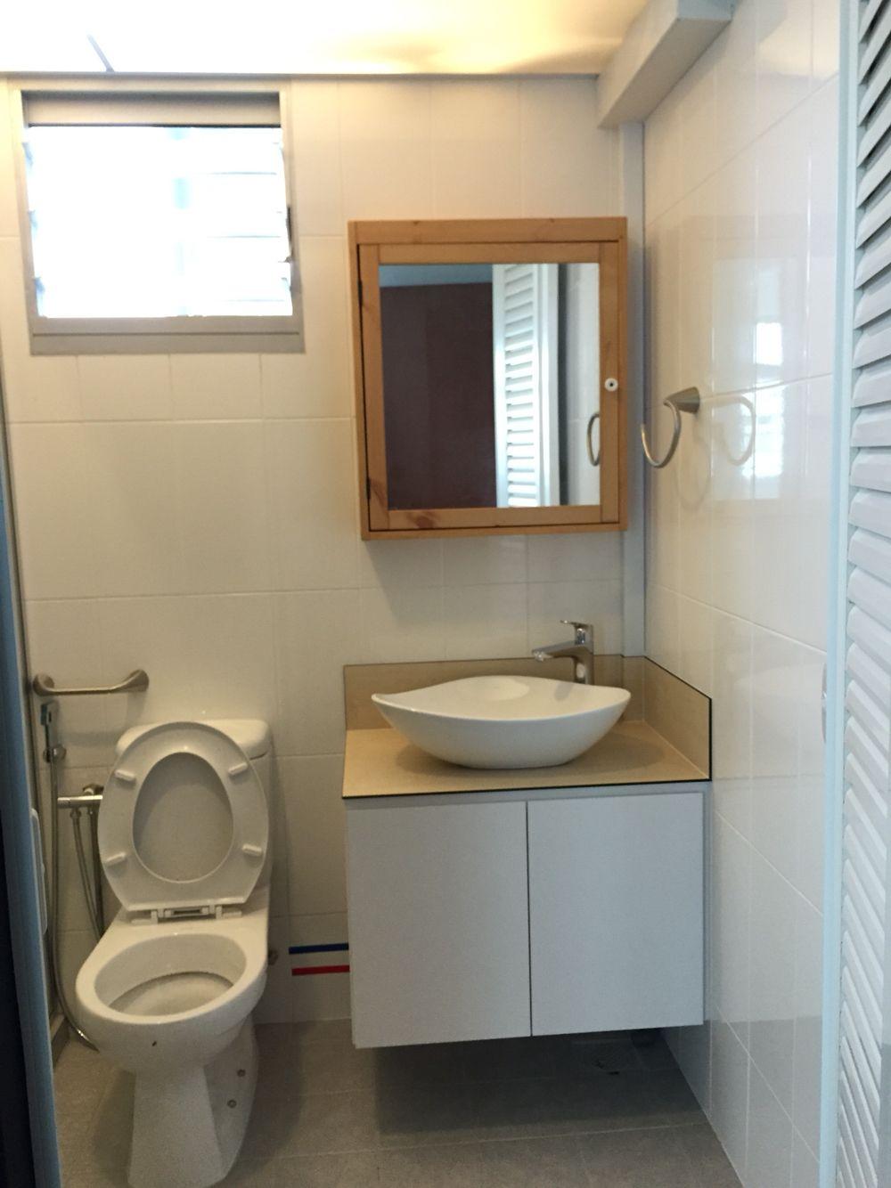 Bathroom Washroom Design Spa Bathroom Design Ideas: IKEA Mirror Cabinet Washroom Wood Basin Hdb