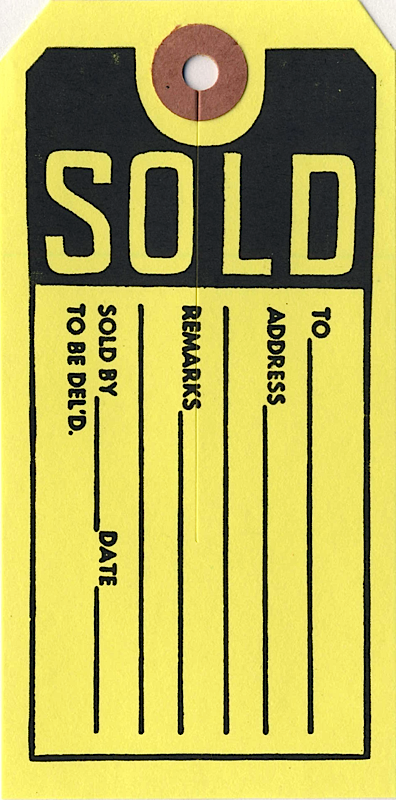 In-Stock Printed Tags :: Sold Tag - Atlas Tag, plain tags