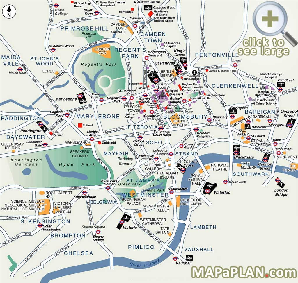 Map Of London With Famous Landmarks.Best Map Of London Popular Destination Spots London Top