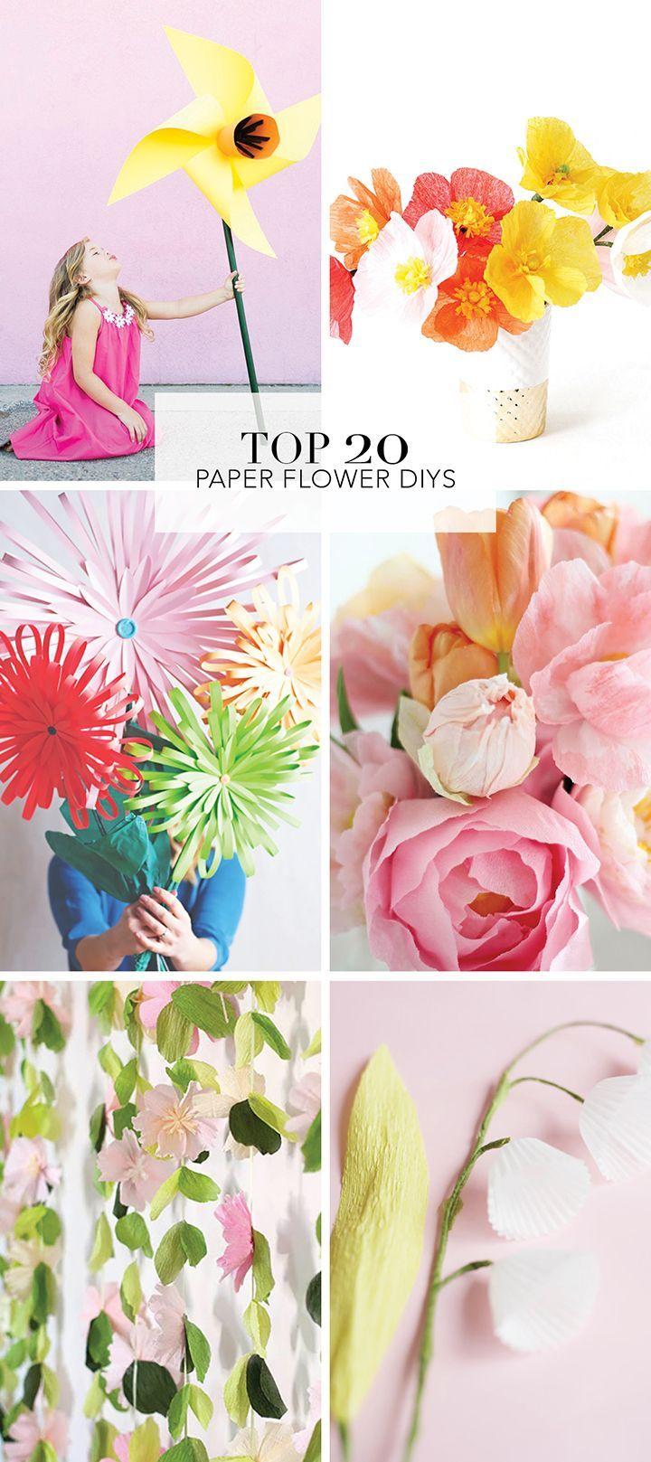 20 Favorite Diy Paper Flower Tutorials Diy Paper Flowers