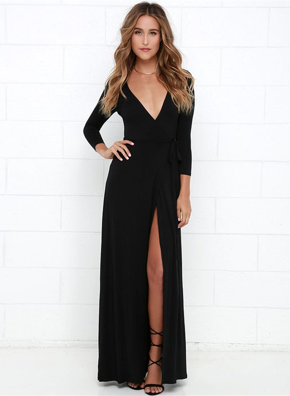 23234db05 Women s sexy deep v neck long sleeve slit maxi dresses | My Style ...