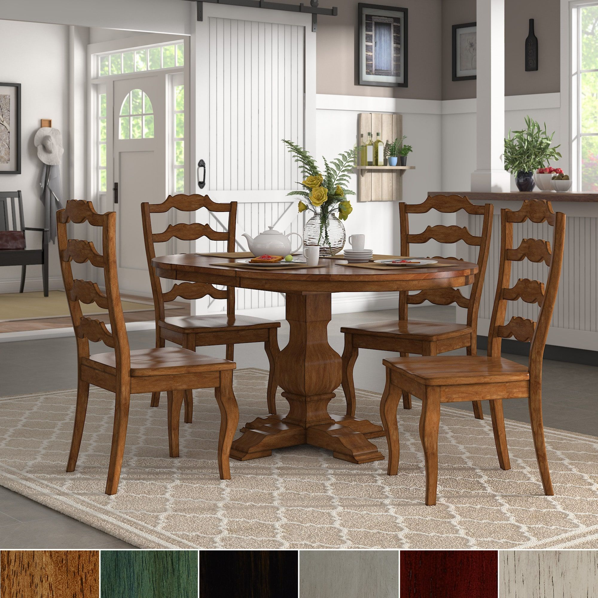 Eleanor Oak Extending Oval Wood Table French Back 5 Piece Dining Set By Inspire Q Classic Green Dining Room Black Dining Room Furniture Dining Room Chairs