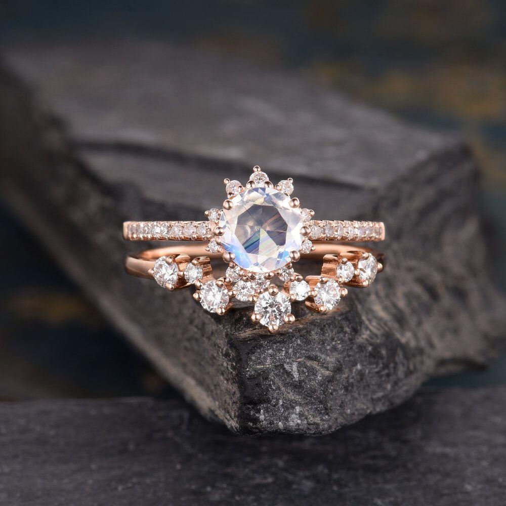 Rose gold moonstone engagement ring set bridal set round cut crown