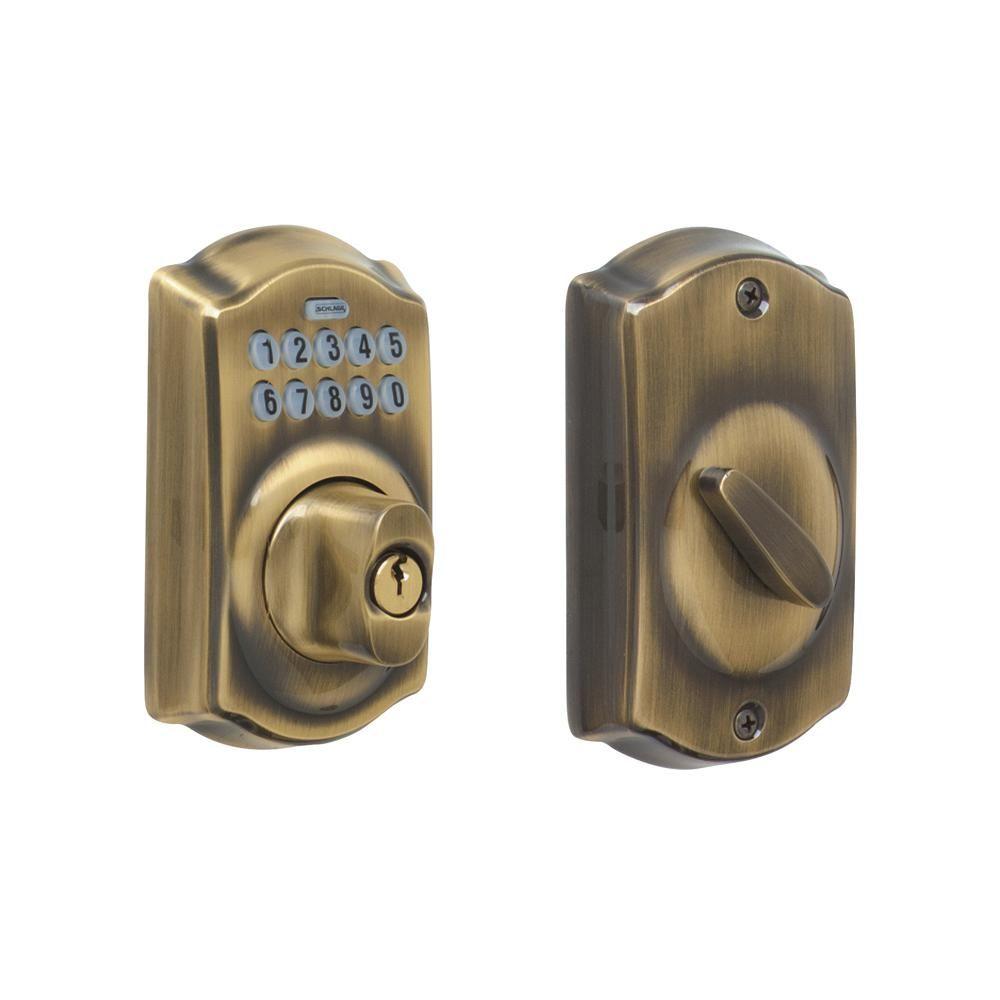 Schlage Camelot Antique Brass Keypad Electronic Door Lock Deadbolt Be365 Cam 609 The Home Depot Deadbolt Schlage Electronic Deadbolt