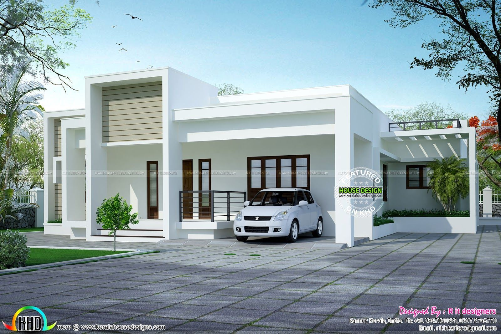 Flat Roof Design Nz Kerala House Design Single Floor House Design Small House Architecture