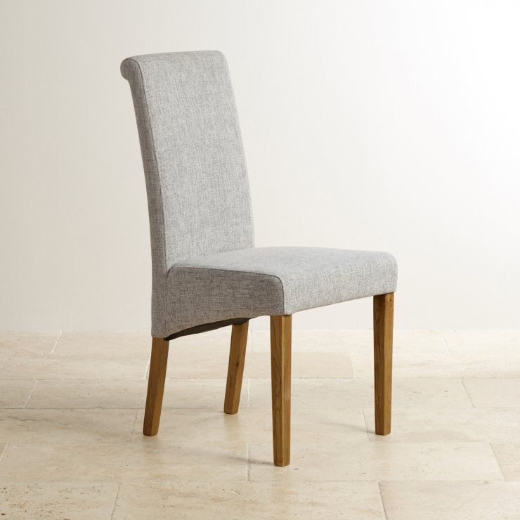 Ordinaire Scroll Back Plain Grey Fabric Dining Chair With Solid Oak Legs
