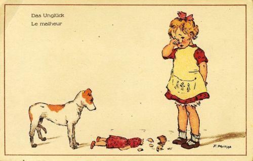 CPA Illustrée Philipp F LE Malheur Petite Fille Poupée Cassée ET SON Chien