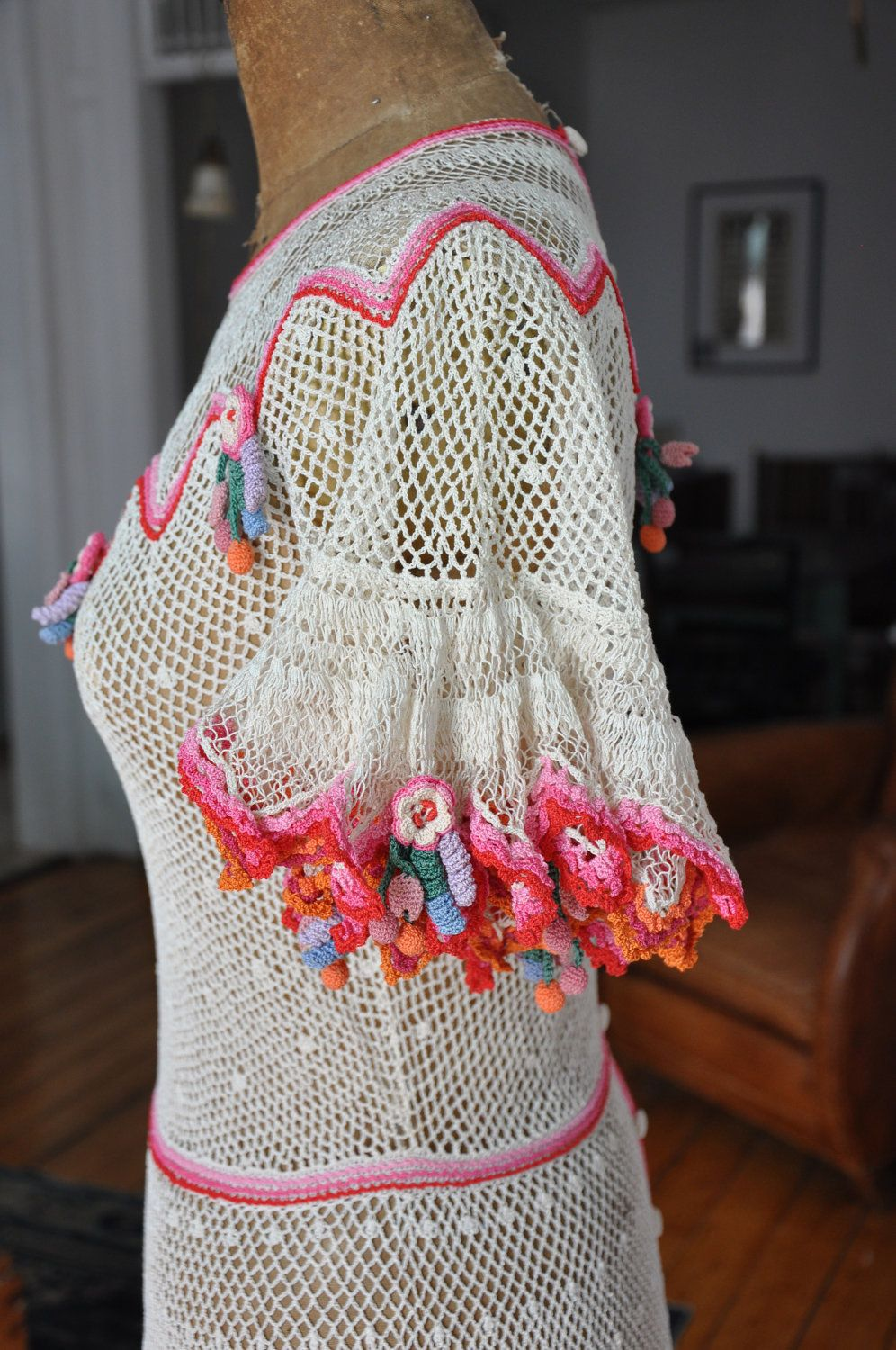 crochet lace dress with bright colored flowers