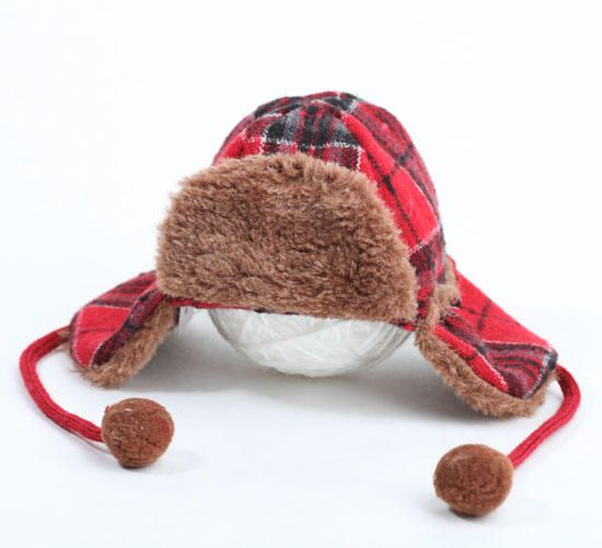 Winter Plaid Fabric Elmer Fudd Trapper Hat  a9d133eeeae0