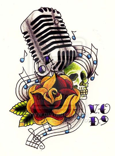 old style microphone tattoo art | 50's mic ft.rose and skull