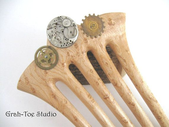 Hair Fork 5 Prong Birdseye Maple Wood with by grahtoestudio, $100.00