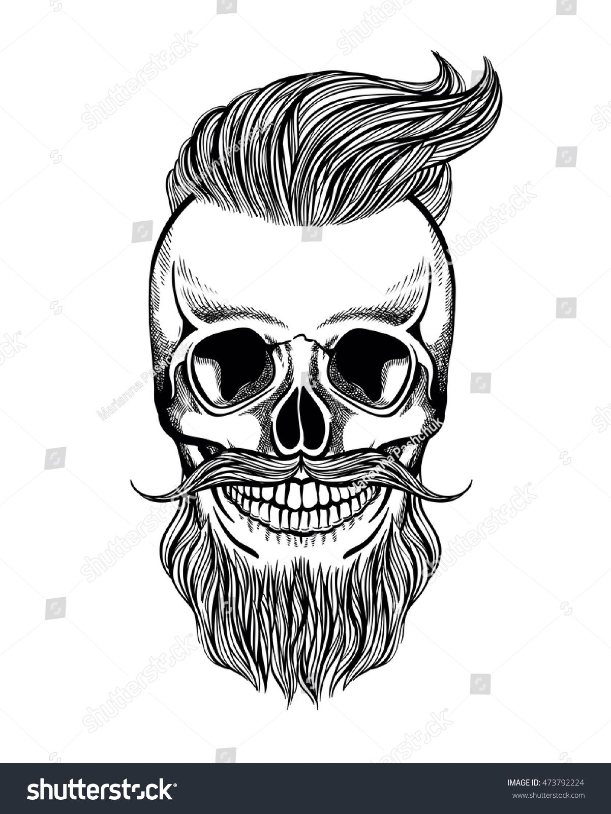 Skull hipster with mustache, beard, coloring page, vector ...