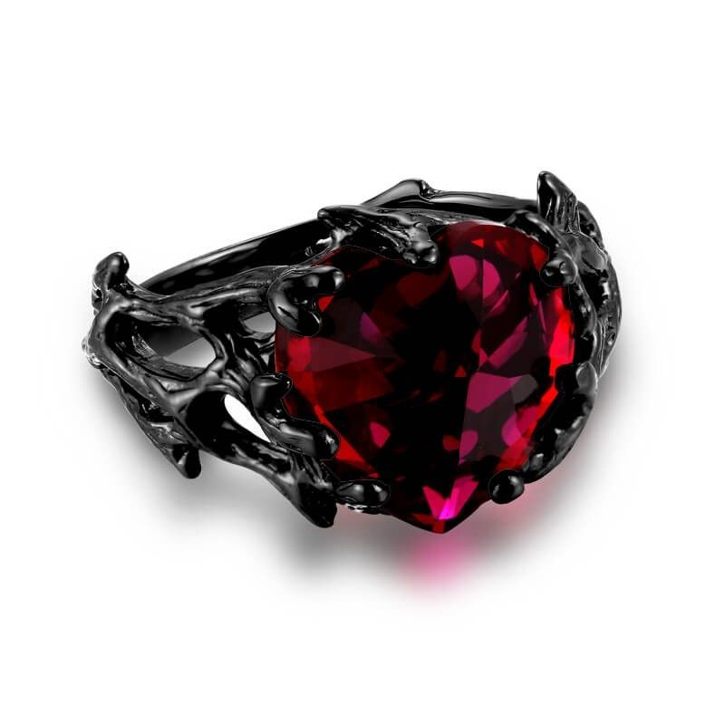 Vancaro Black Ring Women S With Ruby Heart Stone In Gothic Style