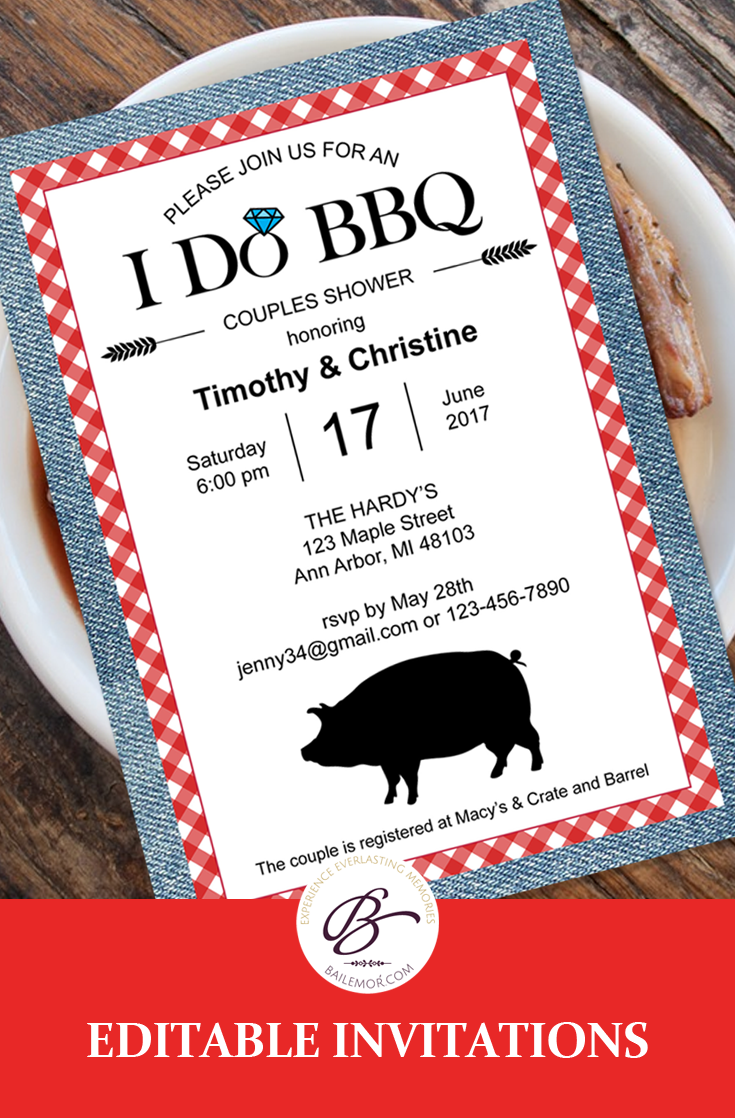 I Do BBQ Invitation, Couples Shower Engagement Party Invitations ...