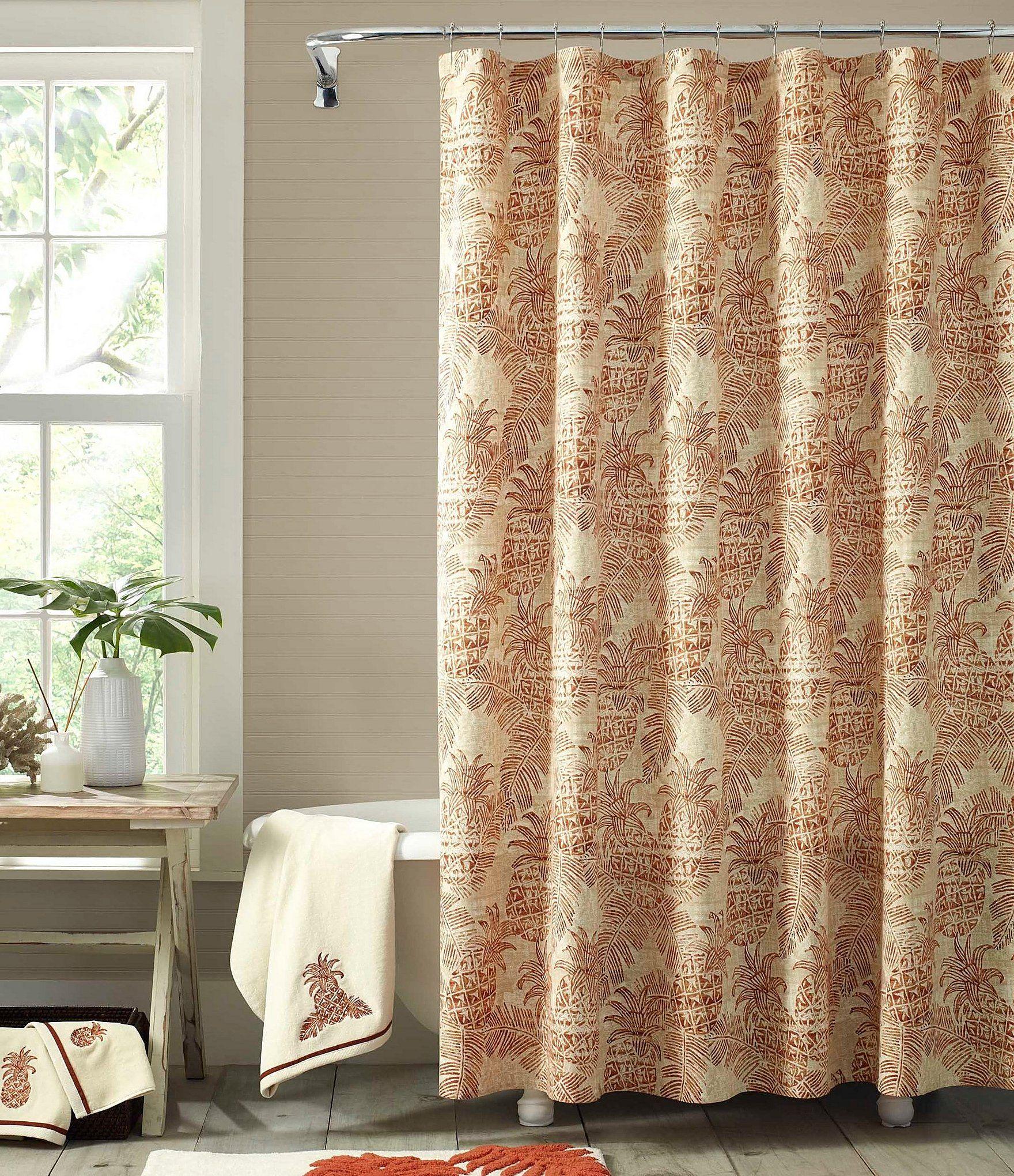 Tommy Bahama Batik Pineapple Shower Curtain In 2020 Pineapple Shower Curtain Tommy Bahama Curtains