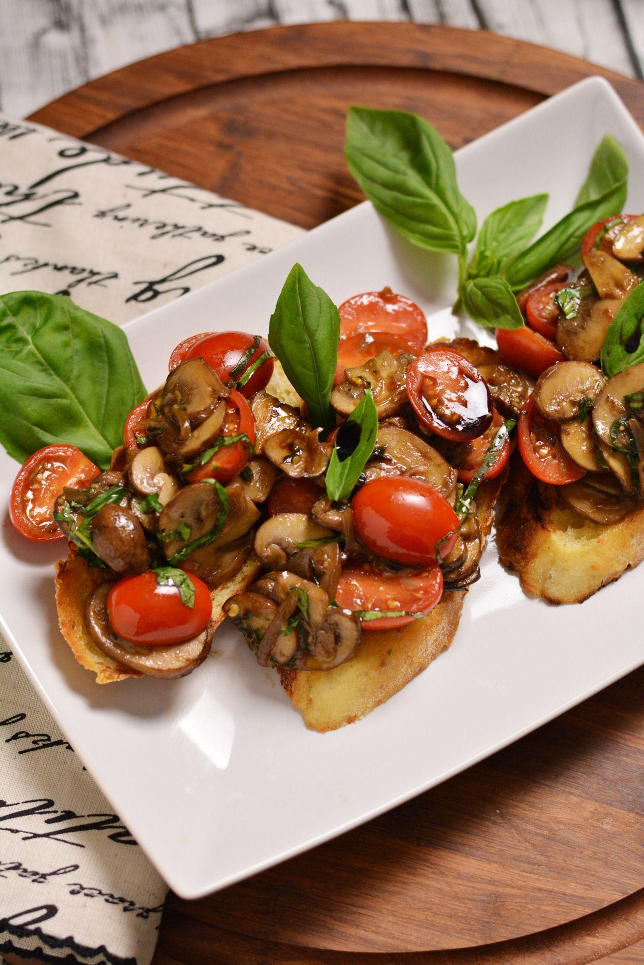 Licking my lips already.  Mushroom & Tomato Bruschetta