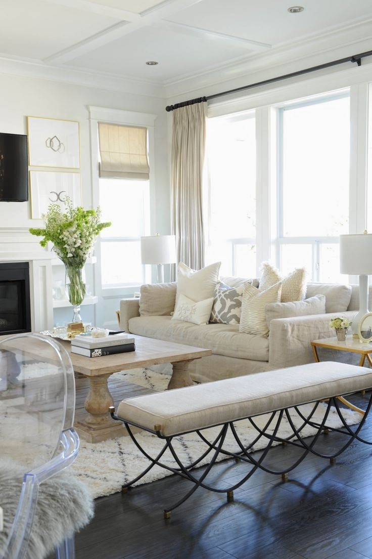 TG interiors Slipcover sofa with white fireplace Like the gold ...