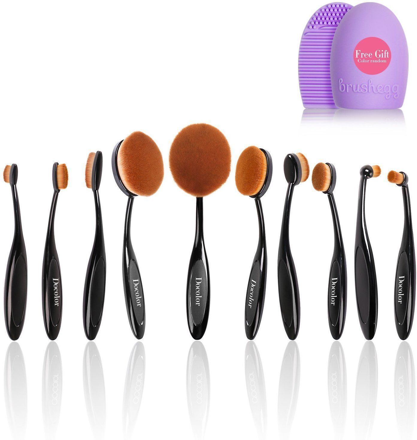 10Pcs Oval Makeup Brushes Set Toothbrush Foundation Kits