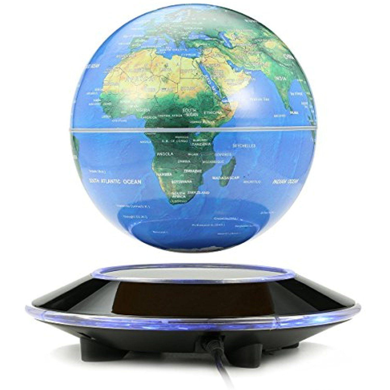 Zosam Magnetic Floating Globe Levitating Earth 360 Degree Rotating Illuminated World Map With Colored Led Floating Globe Magnetic Levitation Office Desk Decor
