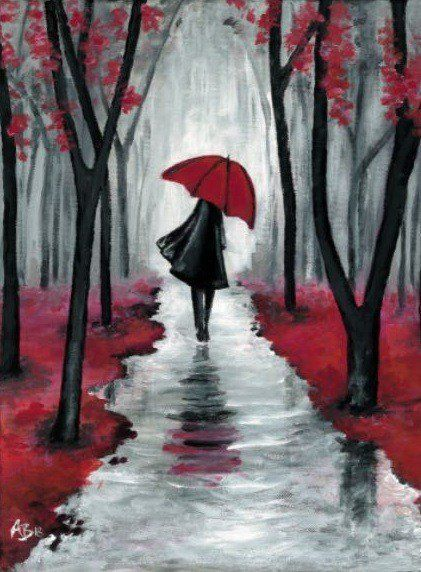 Photo of Woman with a red umbrella – ArtNight
