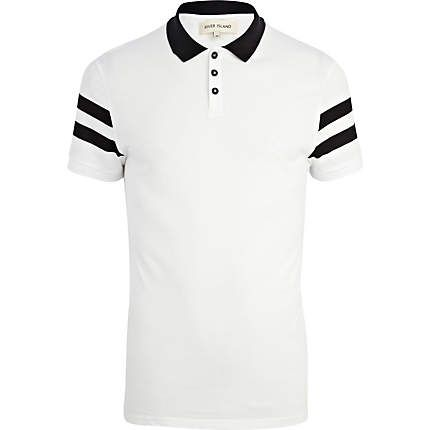 White stripe sleeve polo shirt - polo shirts - men | Coolsville Style |  Pinterest | Polo shirts, Polos and Men's fashion
