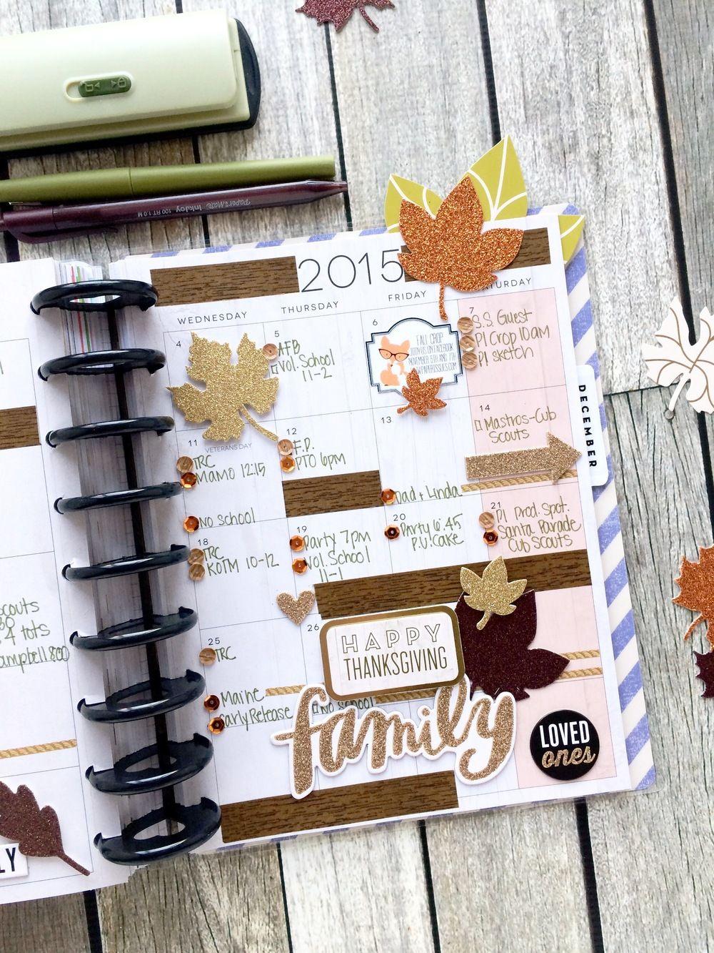 'Happy Grateful' November monthly spread in the The Happy Planner™ of mambi Design Team member Mary-Ann Maldonado   me & my BIG ideas