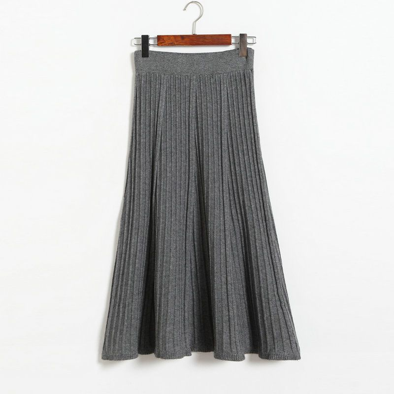 Autumn Winter Long Knitted Skirts Women Solid Color High