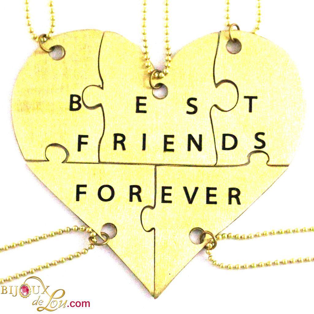 Bijoux De Lou Brass Best Friends Forever 5 Piece Necklace Set
