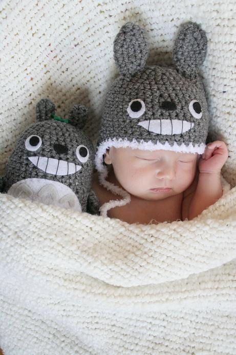 206a1d4f161 Newborn Crochet Totoro Gift Set (Newborn Totoro Hat and a Stuffed Animal)