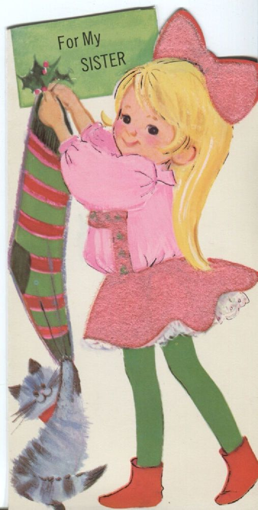 Vintage Norcross Christmas Card - Girl in Pink Hanging Stocking w. Cat- Flocked
