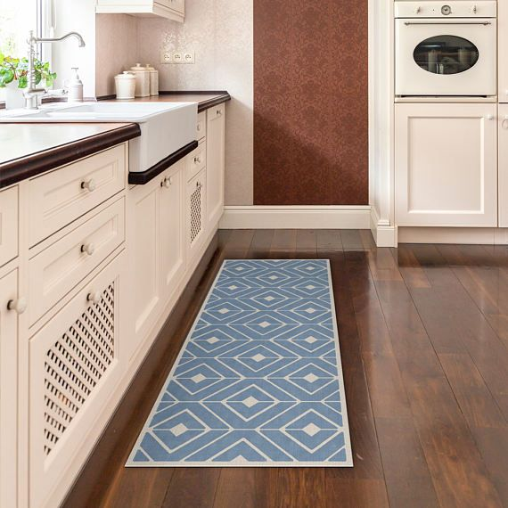 Blue Kitchen Mat Vinyl Runner Rug Printed On Pvc Runner Rug With
