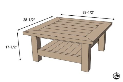 Square Coffee Table W Planked Top Free Diy Plans Diy Farmhouse Coffee Table Square Wood Coffee Table Coffee Table Farmhouse
