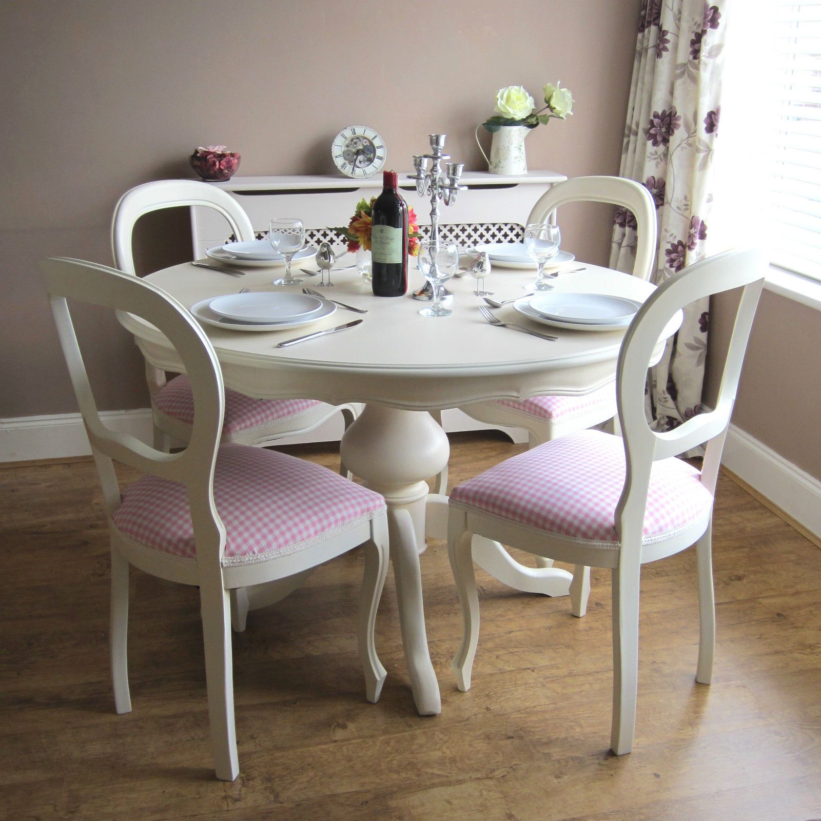 French kitchen table  Print of White Round Kitchen Table and Chairs Design  Kitchen